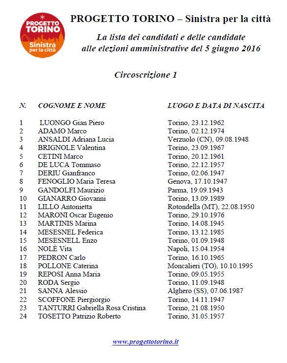 lista PROGETTO TORINO circ 1